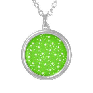 Hot Green and White Stars Pendants