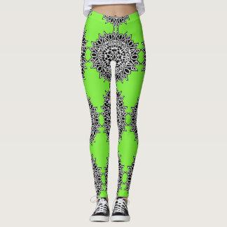Hot Green Celtic Lace Pattern Leggings
