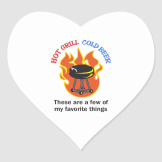 HOT GRILL COLD BEER HEART STICKERS