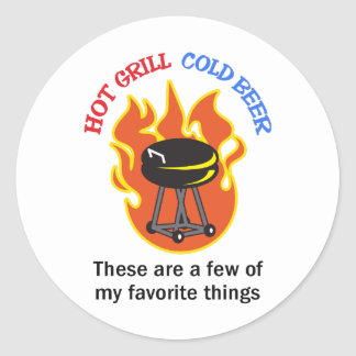 HOT GRILL COLD BEER ROUND STICKERS