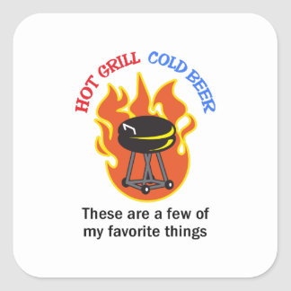 HOT GRILL COLD BEER SQUARE STICKERS