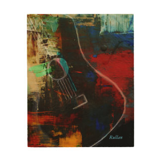 """""""HOT GUITAR"""" ABSTRACT ON 8X10 WOOD WOOD PRINT"""