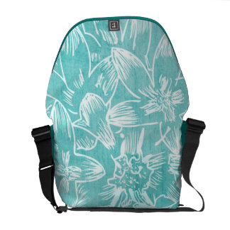 Hot Hibiscus Peacock Blue Floral Courier Bags
