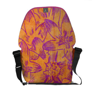 Hot Hibiscus Tangerine Floral Courier Bags