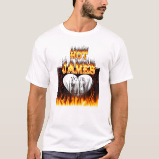 Hot James fire and red marble heart T-Shirt