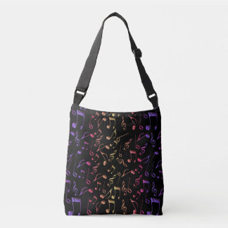 Hot Jazz Music Notes on Black Tote Bag