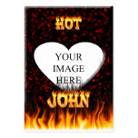 Hot John fire and flames red marble Business Cards