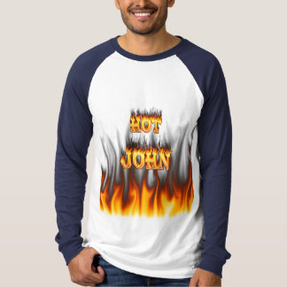 Hot John fire and flames red marble T Shirt