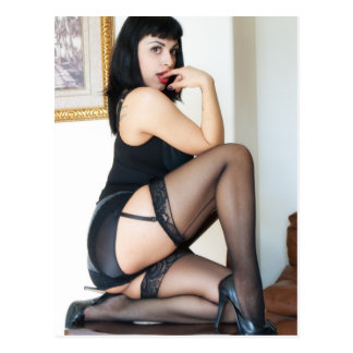 Hot Lady in Black Pinup Post Card