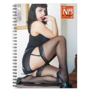 Hot Lady in Black Pinup Spiral Note Books