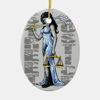 Hot Lady Justice by Street Justice Christmas Ornament