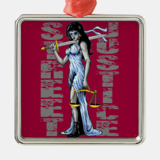 Hot Lady Justice by Street Justice Silver-Colored Square Decoration