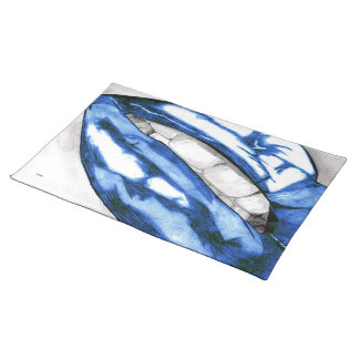 Hot Lips Blue Placemats