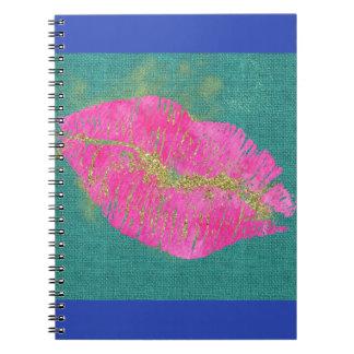 HOT LIPS on Teal Linen Notebook