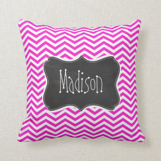 Hot Magenta Chevron Stripes; Retro Chalkboard look Throw Pillows
