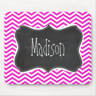 Hot Magenta Chevron Stripes; Retro Chalkboard look Mouse Pads