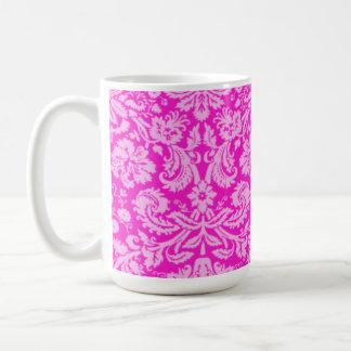 Hot Magenta Damask Basic White Mug