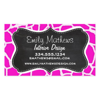 Hot Magenta Giraffe Animal Print; Chalkboard look Double-Sided Standard Business Cards (Pack Of 100)