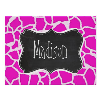 Hot Magenta Giraffe Animal Print; Chalkboard look