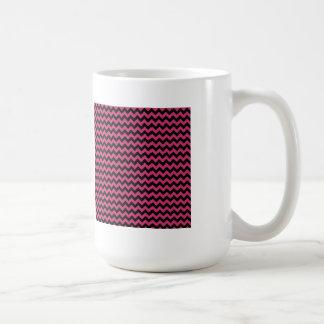 Hot Magenta Pink and Black Chevron Pattern Coffee Mug