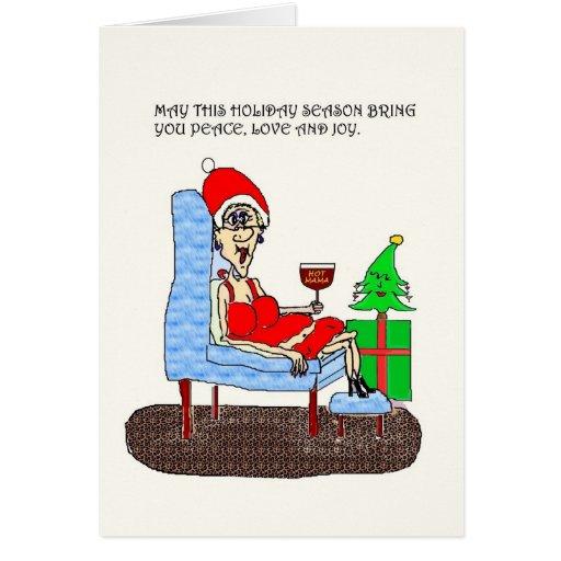 HOT MAMA PEACE LOVE AND JOY CHRISTMAS CARD