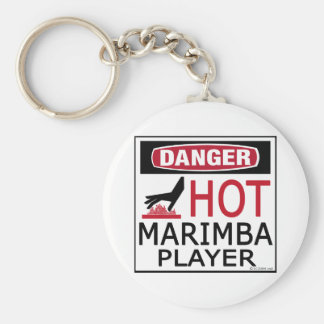 Hot Marimba Player Basic Round Button Key Ring