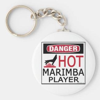 Hot Marimba Player Basic Round Button Key Ring