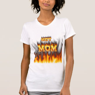 Hot mom fire and red marble heart. tees