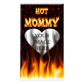 Hot Mommy fire and red marble heart Pack Of Standard Business Cards
