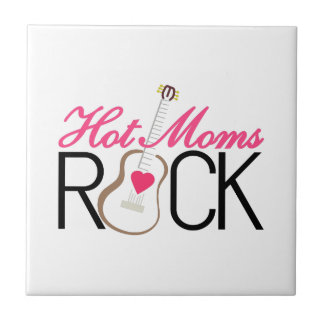 Hot Moms Rock Small Square Tile