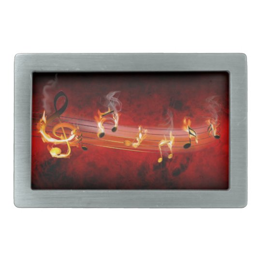 Hot Music Notes Rect Belt Buckle