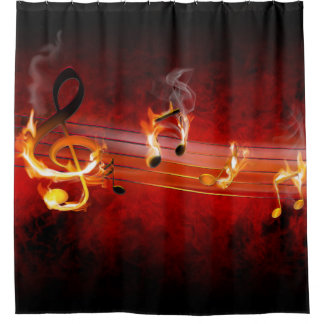 Hot Music Notes Shower Curtain