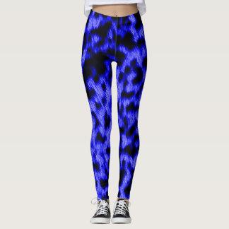 Hot Neon Blue Cheetah Rave Love Leggings