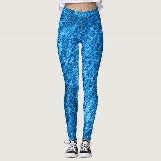Hot Neon Blue Rave Love Leggings