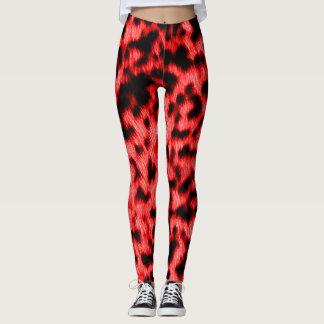 Hot Neon Red Cheetah Rave Love Leggings