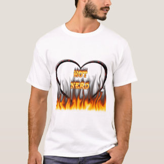 Hot Nerd fire and flames red marble T-Shirt