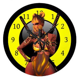 Hot Ninja Large Clock