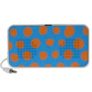 Hot Orange and Blue Polka Dot Watercolor Travel Speakers