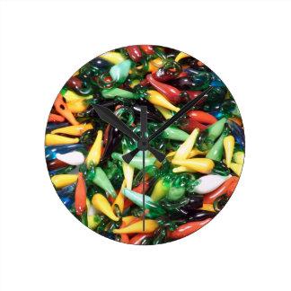 Hot Pepper Clock, Chili Pepper, Cayenne Jalopeno Wall Clock