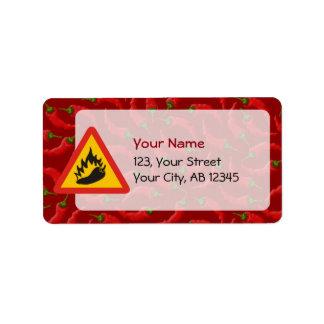 Hot pepper danger sign address label