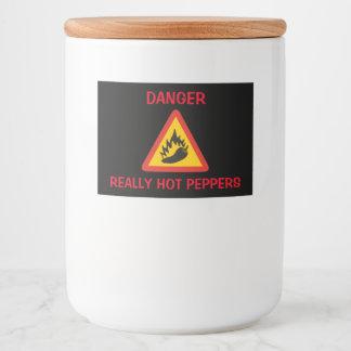 Hot pepper danger sign food label