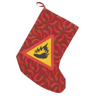 Hot pepper danger sign small christmas stocking