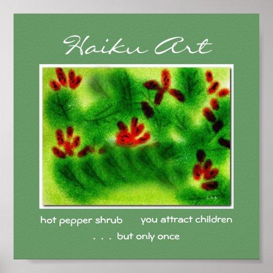 Hot Pepper Shrub Haiku Art Print