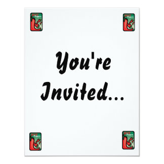 Hot Pepper Text Graphic two chilis 11 Cm X 14 Cm Invitation Card