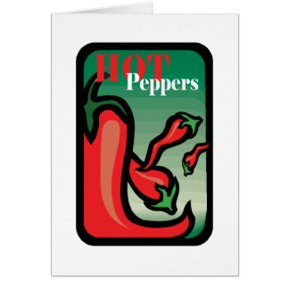 Hot Pepper Text Graphic two chilis Note Card