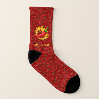 Hot Pepper with flame on Red Background 1