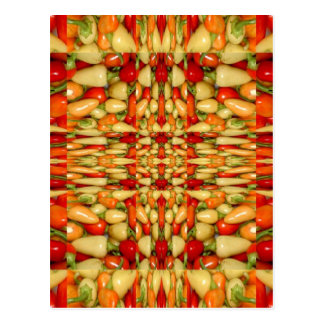 Hot peppers abstract repeat pattern postcard