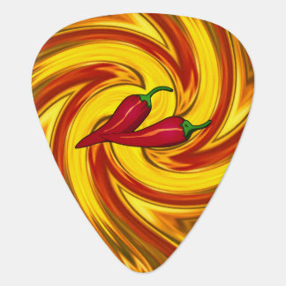 hot peppers abstract swirled gold red mandala plectrum