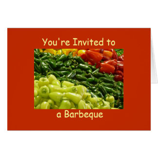 Hot Peppers BBQ Barbeque Invitation Note Card