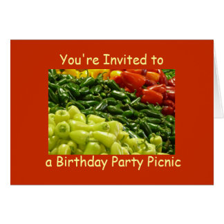 Hot Peppers Birthday Party Picnic Invitation Note Card